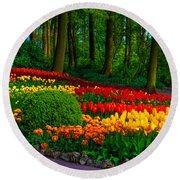 Colorful Corner Of The Keukenhof Garden 4. Tulips Display. Netherlands Round Beach Towel