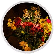 Colorful Cut Flowers In A Vase Round Beach Towel