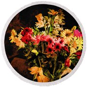 Colorful Cut Flowers - V3 Round Beach Towel