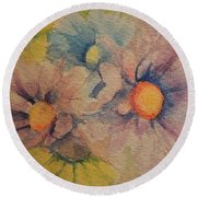 Colorful Daisies Round Beach Towel