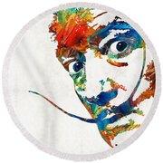 Colorful Dali Art By Sharon Cummings Round Beach Towel