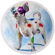 Colorful Dalmatian Chihuahua Round Beach Towel