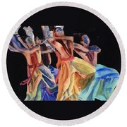 Colorful Dancers Round Beach Towel