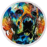 Colorful Dog Art - Heart And Soul - By Sharon Cummings Round Beach Towel