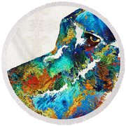 Colorful Dog Art - Loving Eyes - By Sharon Cummings  Round Beach Towel