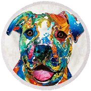 Colorful Dog Pit Bull Art - Happy - By Sharon Cummings Round Beach Towel by Sharon Cummings