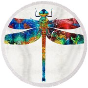 Colorful Dragonfly Art By Sharon Cummings Round Beach Towel