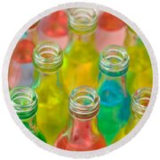 Colorful Drink Bottles Round Beach Towel