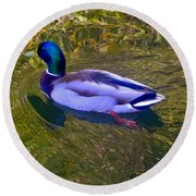 Colorful Duck Round Beach Towel
