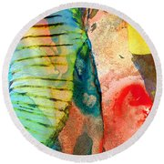 Colorful Elephant Art By Sharon Cummings Round Beach Towel by Sharon Cummings