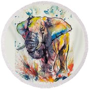 Colorful Elephant Round Beach Towel