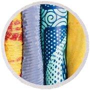 Colorful Fabrics Round Beach Towel