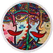 Colorful Faces Gazing - Ink Abstract Faces Round Beach Towel