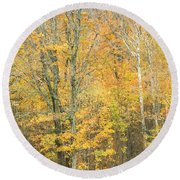 Colorful Fall Trees In Maine Round Beach Towel