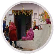 Colorful Family Gathering Ancestral Home Udaipur Rajasthan India Round Beach Towel