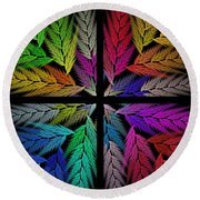Colorful Feather Fern - 4 X 4 - Abstract - Fractal Art - Square Round Beach Towel