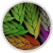 Colorful Feather Fern - Abstract - Fractal Art - Square - 1 Tl Round Beach Towel