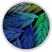 Colorful Feather Fern - Abstract - Fractal Art - Square - 3 Ll Round Beach Towel