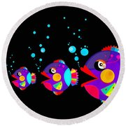 Colorful Fish Creation Round Beach Towel