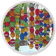 Colorful Fishing Floats Round Beach Towel
