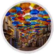 Colorful Floating Umbrellas Round Beach Towel by Marco Oliveira