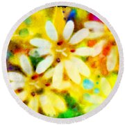 Colorful Floral Abstract - Digital Paint Round Beach Towel