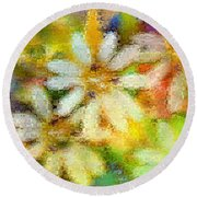 Colorful Floral Abstract II Round Beach Towel
