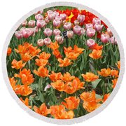 Colorful Flower Bed Round Beach Towel