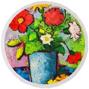 Colorful Flowers From My Garden Round Beach Towel