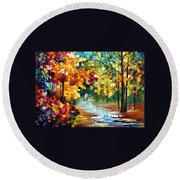 Colorful Forest - Palette Knife Oil Painting On Canvas By Leonid Afremov Round Beach Towel
