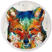 Colorful Fox Art - Foxi - By Sharon Cummings Round Beach Towel