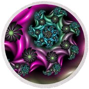 Colorful Fractal Round Beach Towel