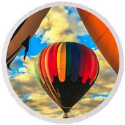 Colorful Framed Hot Air Balloon Round Beach Towel by Robert Bales