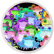 Colorful Frogs Round Beach Towel