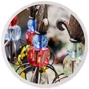Colorful Glass And Metal Garden Ornaments Round Beach Towel