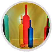 Colorful Glass Bottles Round Beach Towel