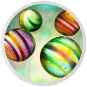 Colorful Glass Marbles Round Beach Towel