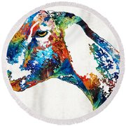 Colorful Goat Art By Sharon Cummings Round Beach Towel