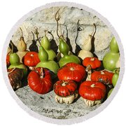 Colorful Gourds Round Beach Towel