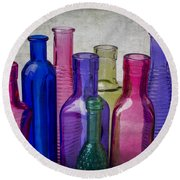 Colorful Group Of Bottles Round Beach Towel