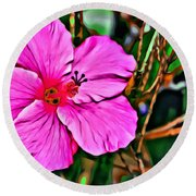 Colorful Hibiscus Round Beach Towel