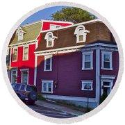 Colorful Homes In Saint John's-nl Round Beach Towel