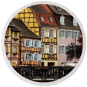 Colorful Homes Of La Petite Venise In Colmar France Round Beach Towel