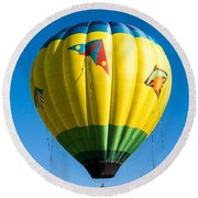 Colorful Hot Air Balloon Over Vermont Round Beach Towel
