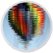 Colorful Hot Air Balloon Ripples Round Beach Towel by Carol Groenen