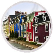 Colorful Houses In Newfoundland Round Beach Towel