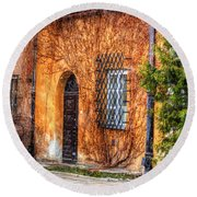 Colorful Houses In Warsaw Round Beach Towel