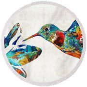 Colorful Hummingbird Art By Sharon Cummings Round Beach Towel