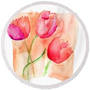 Colorful Illustration Of Red Tulips Flowers  Round Beach Towel