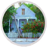 Colorful Key West Cottage Round Beach Towel